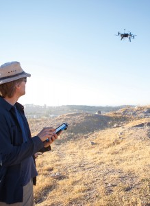 An octocopter (drone) made it possible to get useful aerial photography of the archeological site during the dig season.